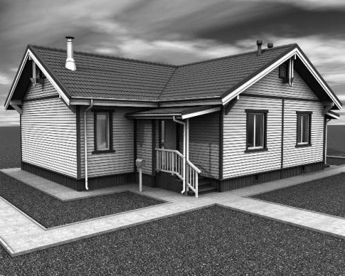 Практически полный проект одноэтажного двухквартирного дома (коттеджа) пос. Ярки.  Состав проекта: планы, фасады.
